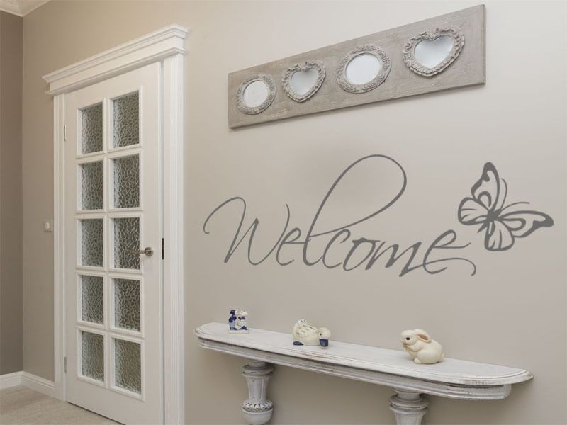 Welcome Wall Art With Butterfly Wall Art Sticker Decal Vinyl StickerTransfer